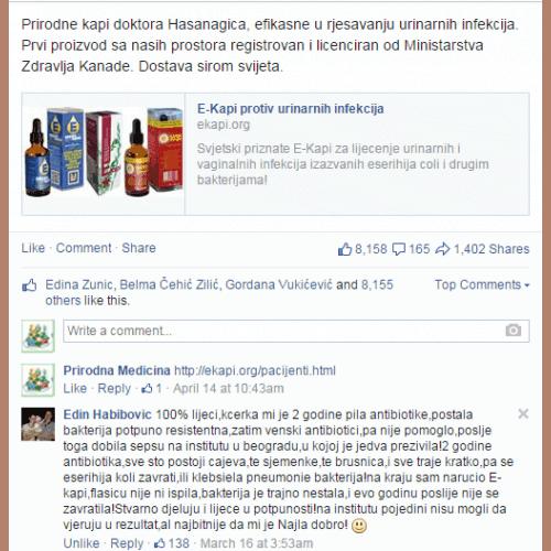 Facebook feedback za e-kapi